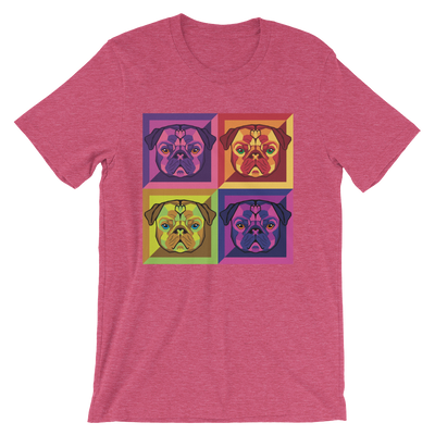"""Pop Pug Art"" Women's Short Sleeve Jersey Tee"