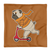 """Scooter Pug"" Decorative Square Pillow Case Without Stuffing"