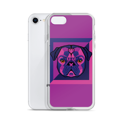 """Pop Pug Art"" Phone Case for iPhone (Purple Tones)"