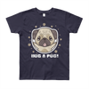 """Hug a Pug"" American Apparel Short Sleeve Kids T-Shirt (8 to 12 Year Olds)"