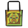 """Pop Pug Art"" All-Over Print Tote Bag (Citrus Tones)"