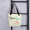 """Peace, Love & Dogs"" All-Over Print Tote Bag"