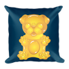 """Gummy Pug - Yellow"" Decorative Square Pillow Case With Stuffing"