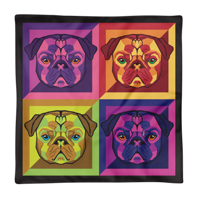 """Pop Pug Art"" Decorative Square Pillow Case without Stuffing"