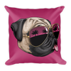 """California Pug"" Decorative Square Pillow Case With Stuffing"