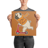 """Scooter Pug"" Premium Luster Photo Paper Unframed Poster"