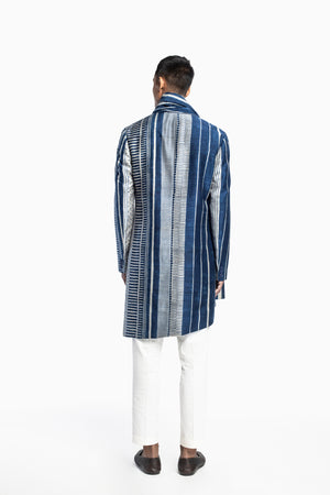 Indigo Print Draped Kurta Set