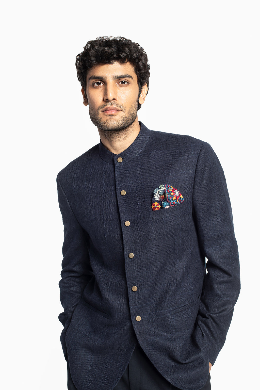 Space Blue Bandhgala Suit