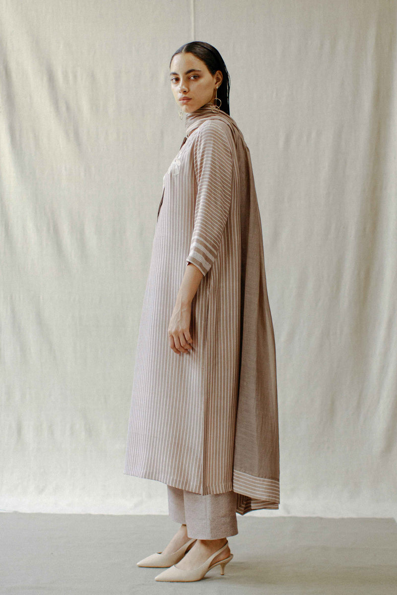 Mud Rose Striped Kurta Set