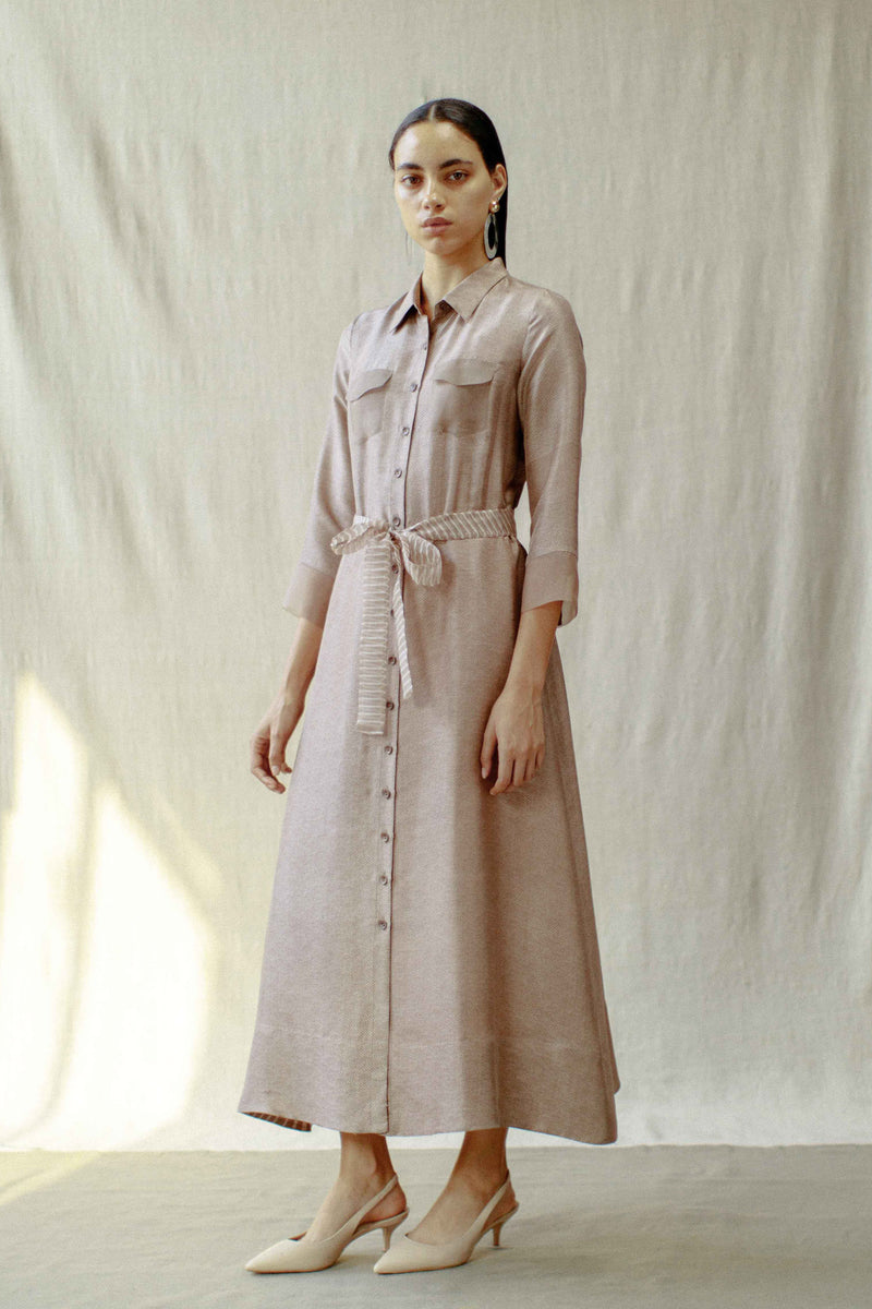 Belted Button Down Silk Dress
