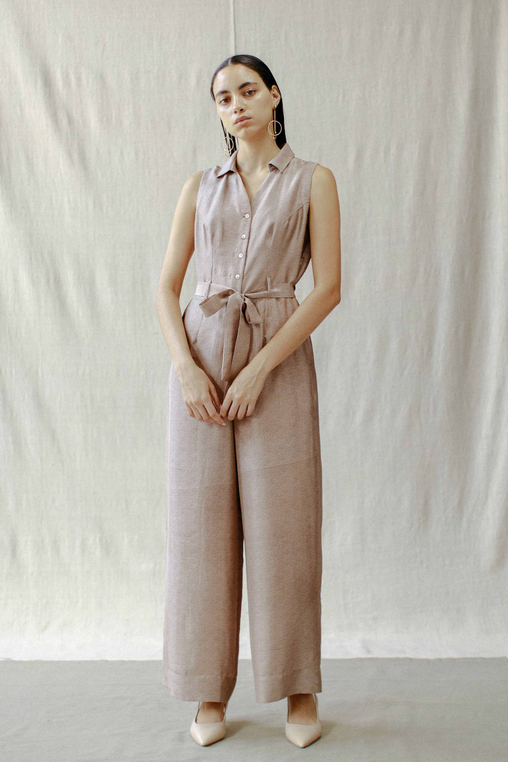 Belted Front Buttoned Jumpsuit