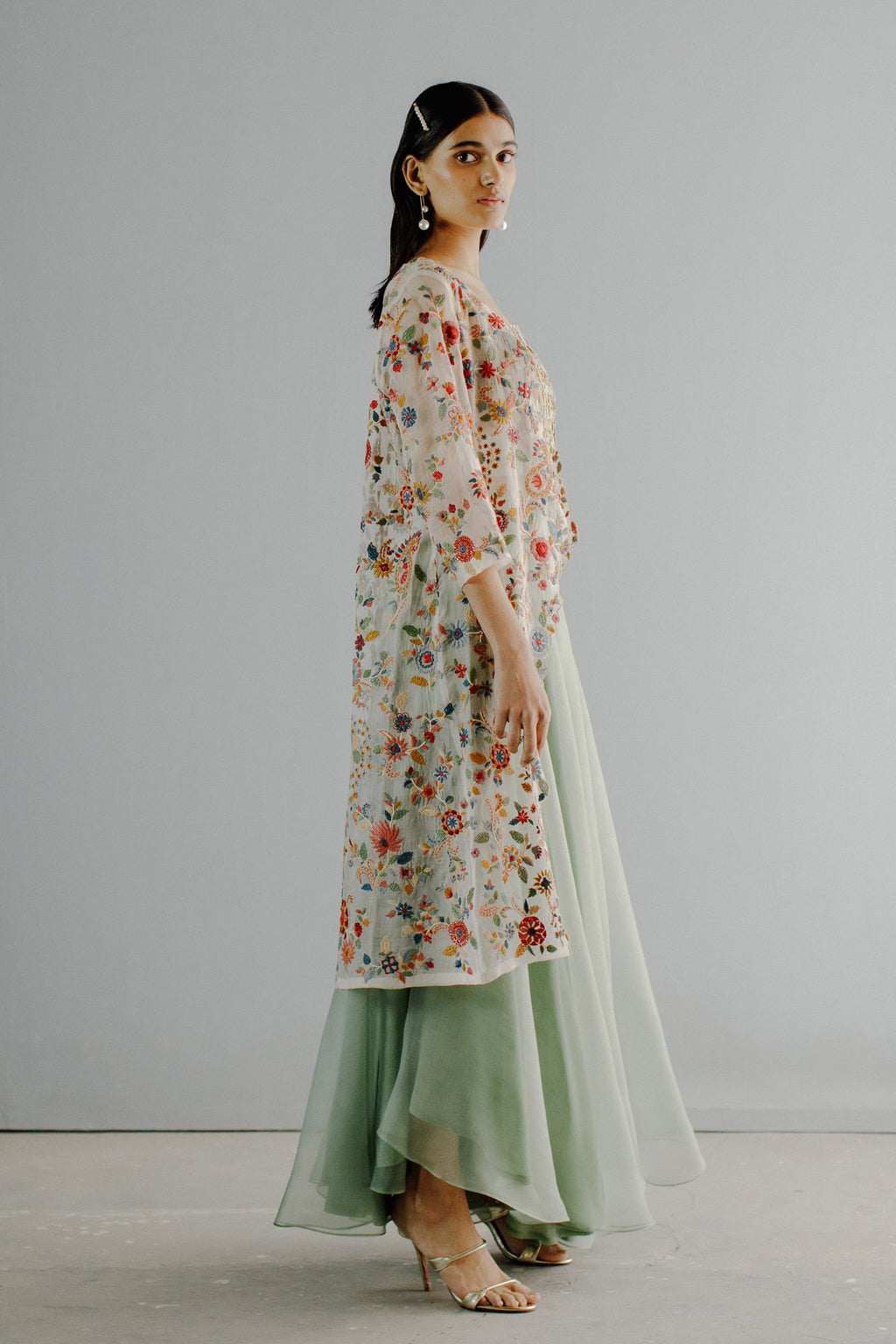 Embroidered Cape Sharara Set