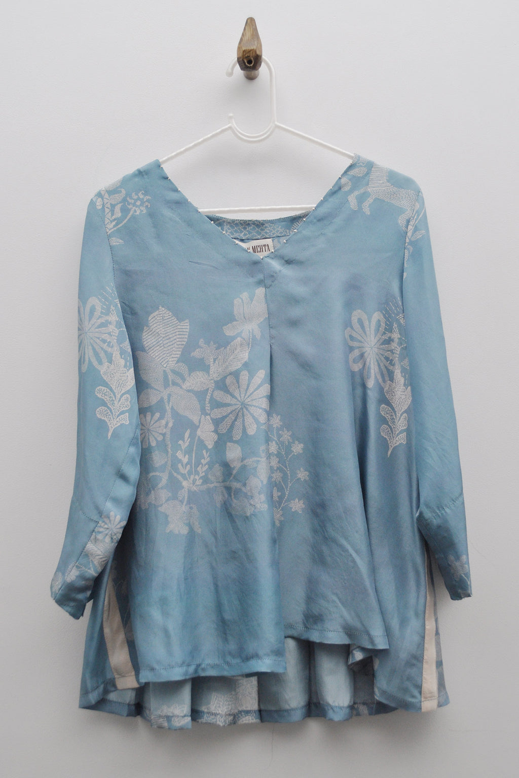 Washed Denim Bengal Tales Panelled Silk Top