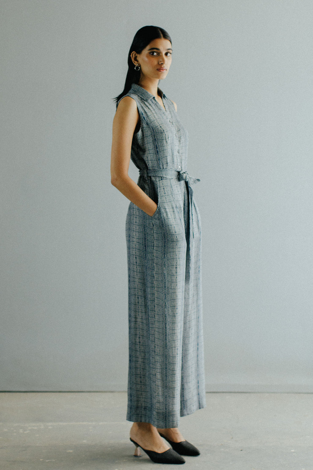 Sleeveless Texture Kantha Jumpsuit