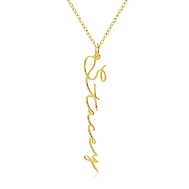 Vertical Signature Name Necklace