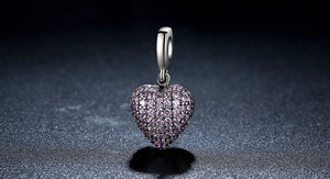 DIAMOND HEART STERLING SILVER CHARM