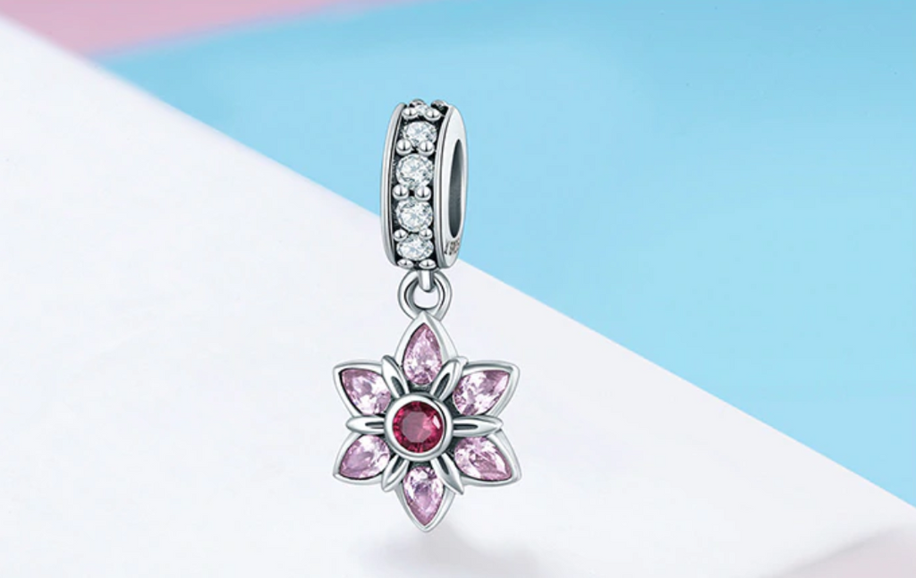 Pandora style ROSE PETALS STERLING charm