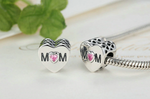 MOM HEART SHAPED STERLING SILVER CHARM