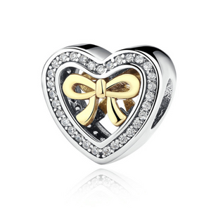 Pandora style BOW HEART STERLING charm