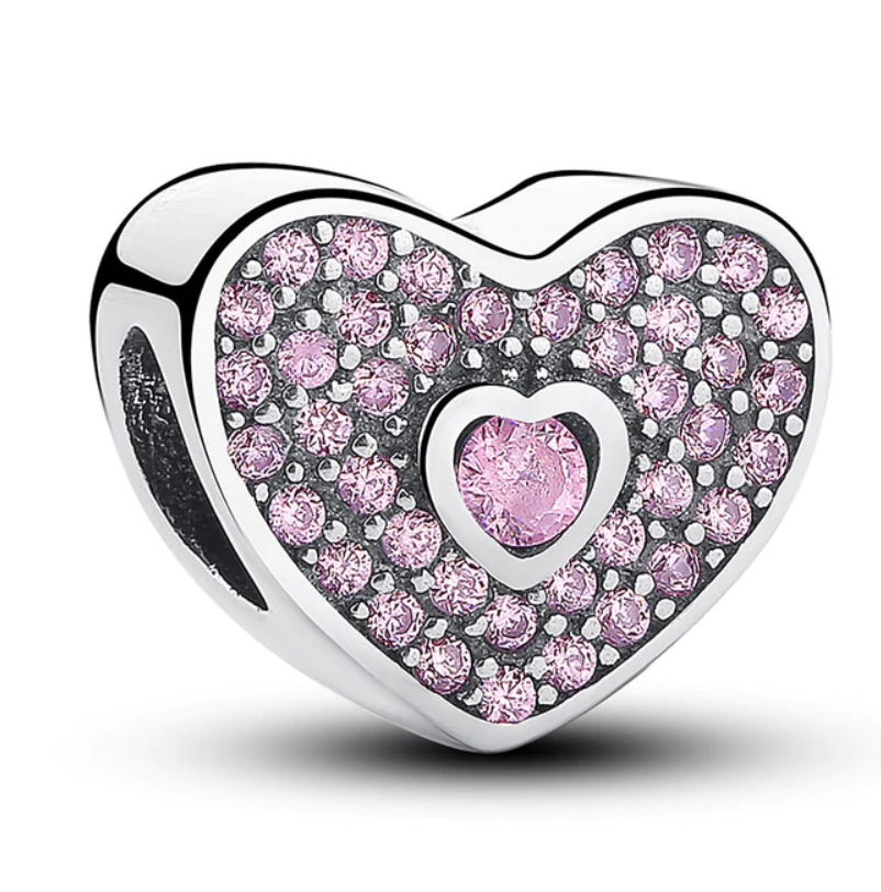 Pandora style LOVE HEART STERLING charm