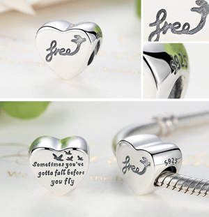 Pandora style HEART INSPIRED STERLING charm