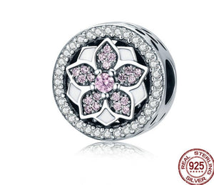 Pandora style LEAF DIAMOND STERLING charm