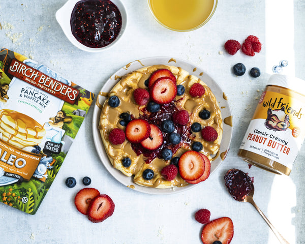 5 Minute Mixed Berry Collagen Waffles (Gluten-free, Grain-free, Dairy-free)
