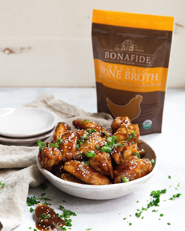 Crispy Honey + Bone Broth Glazed Chicken Wings