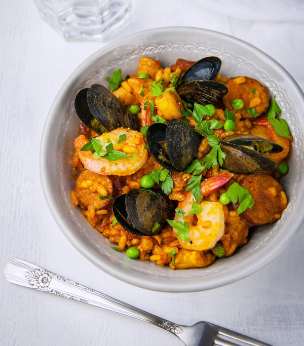 Bone Broth + Seafood Paella