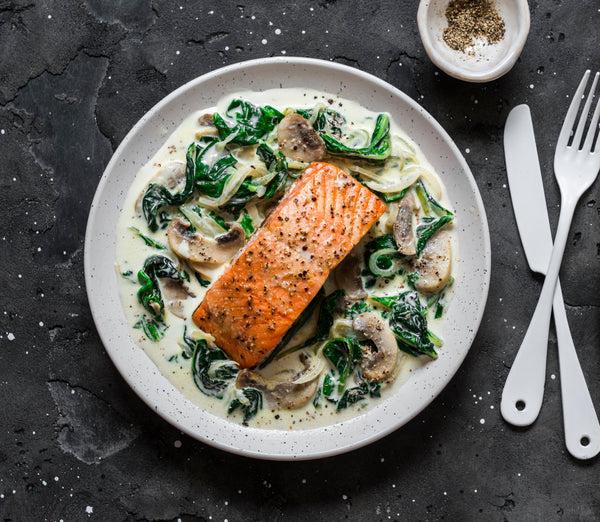 Creamy Mushroom and Spinach Salmon