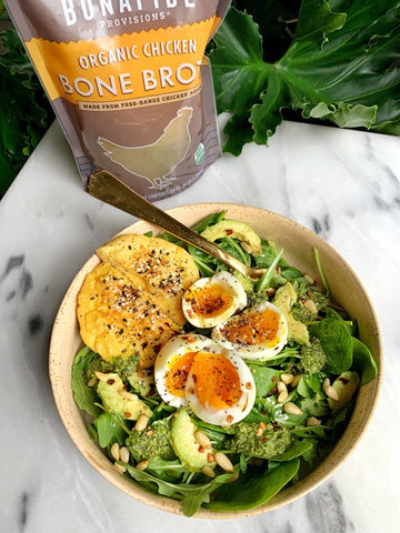 Perfect 6 minute soft boiled eggs in bone broth