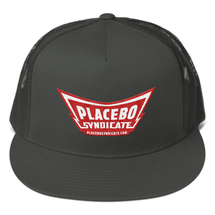Placebo Syndicate Logo - Red : Mesh Back Snapback Cap