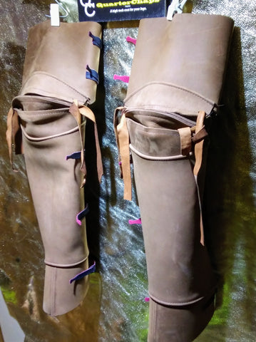 """UNLINED"" 5-6 oz Leather, Patented leg shields Light or Dark Brown Articulating Knee"