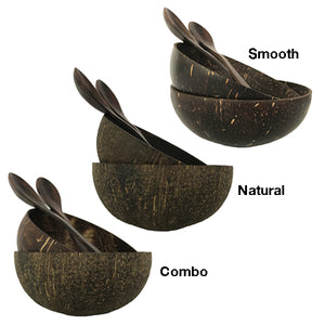 Coconut Bowls with Spoons: Set of 4