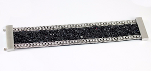 Magnificent Leather Beaded Bangle/Bracelet With Magnetic Clasp
