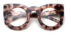 Chic Fashion CatEye Glasses (Leopard, Black & Clear)