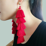 Bohemian 5 Layered Cotton Tassel Earrings
