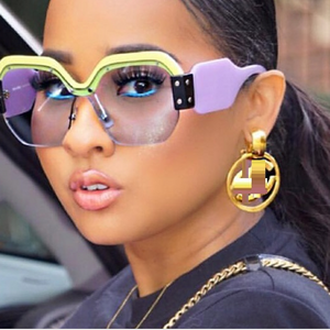 Rimless Oversized Vintage Luxury Sunglasses for Women
