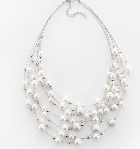 Multilayered Imitation Pearl Necklace