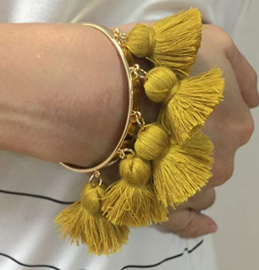 BEAUTIFUL BOHEMIAN TASSEL CUFF BANGLE