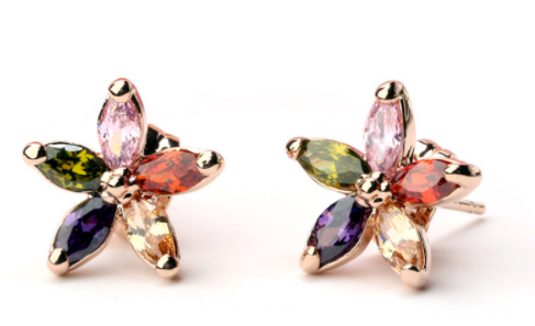 Rose Gold-Color MultiColored Flower Earrings