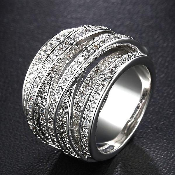 Luxury Vintage AAA Cubic Zirconia Multilayer Silver Bijoux Ring