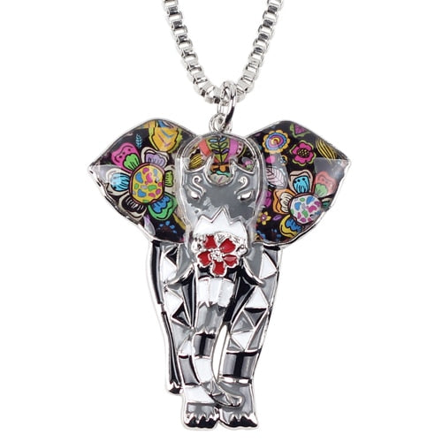 EXQUISITE MULTI COLORED ELEPHANT PENDANT WITH NECKLACE