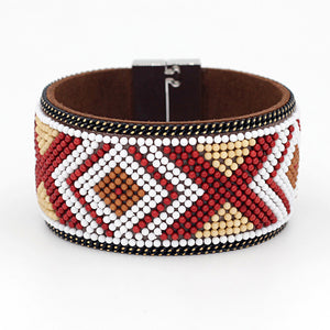 Colorful Beaded Leather Bohemian Bangle Bracelet with Magnetic Clasp