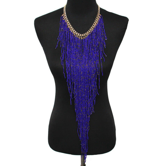 Handmade Bohemian Long Tassel Statement Choker in 8 VIBRANT color options.
