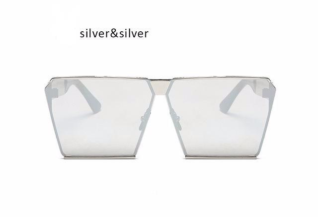 Oversized Mirrored Square Sunglasses for Men and Women