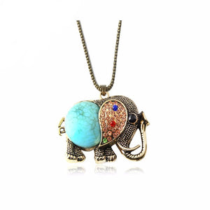 Vintage High Quality Gem Elephant Necklace with Pendant (green, blue, red).