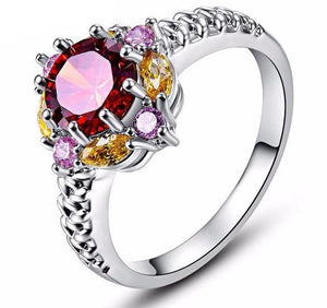 Multi-Colored Cubic Zirconia Ring Size (6-10)
