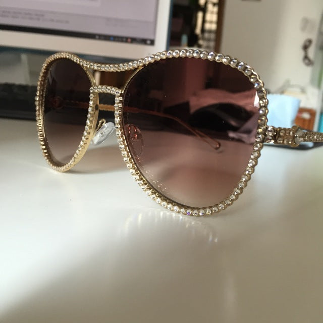 Exquisite Rhinestone Vintage Luxury Aviator Eyewear and Sunglasses