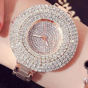 Luxury Rose Gold Quartz Women's Blinged Crystal Bracelet Wrist watches